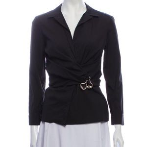 Gucci Wrap Blouse with Gold Clasp